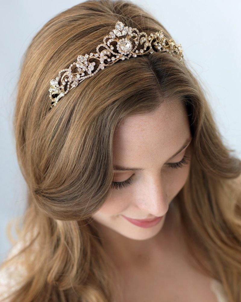 USABride Scrolling Silver-Tone Rhinestone Bridal Crown, Wedding Tiara, 3157
