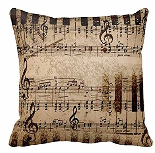 Retro Shabby Sheet Music Cotton Linen Personalized Throw Pillow Case Cushion Cover New Home Office Room Sofa Car Decorative Square 18 X 18 Inches