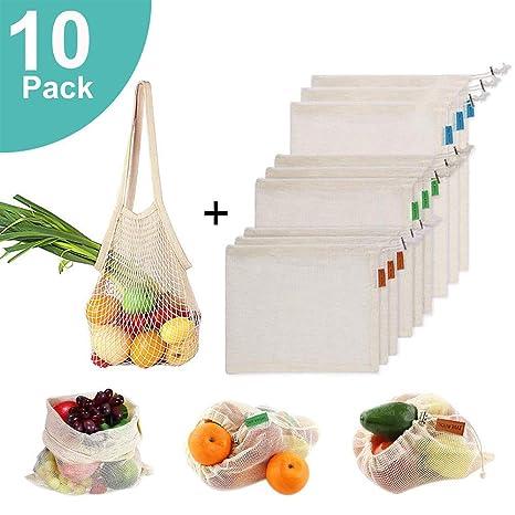 Bolsas de productos reutilizables de algodón orgánico lavable para frutas, verduras, organización de refrigeradores, juguetes y libros, compras en el ...