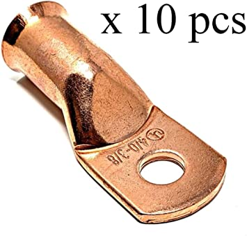 10 Non-Carb Compliant WindyNation CFLUG-2//0AG-38-10pcs 10 Pcs Wni UL 2//0 Gauge x 3//8 X Pure Copper Battery Welding Cable Lug Connector Ring Terminals