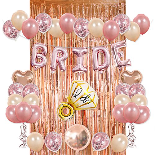 Bride Party Decorations Kit- Rose Gold Foil Fringe Curtain, 20 Latex Balloons, 10 Confetti Balloon, Bride and Ring Heart Round Mylar Balloons for Bachelorette Bridal Shower Party Supplies