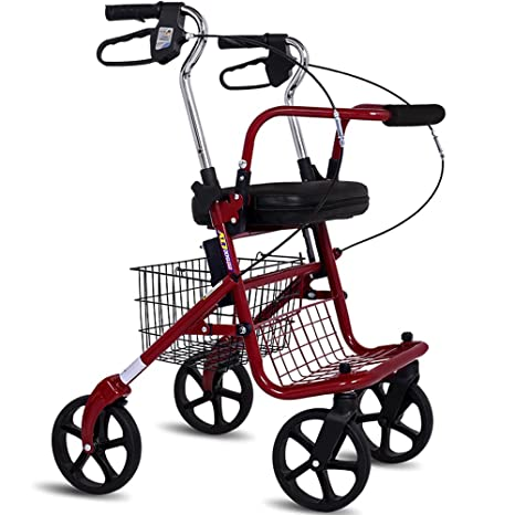 Andador de hierro rojo Walker plegable con ruedas (4 ruedas ...