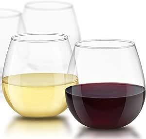 JoyJolt Spirits Stemless Wine Glasses for Red or White Wine (Set of 4)-15-Ounces