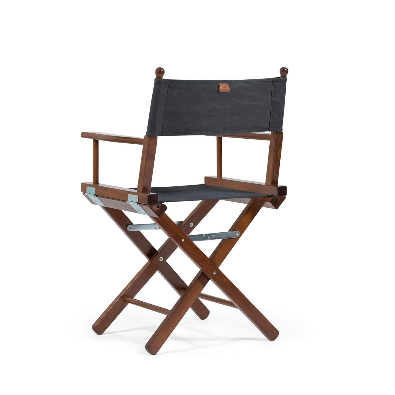 Telami Outlet Folding Beech Teak Wooden Directors Chair Made in Italy Charcoal Black Cover 52x46x91,5 cm Outdoor Furniture