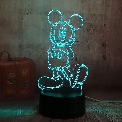 Dibujos animados lindo Mickey Mouse 3D LED noche ilusión de luz ...