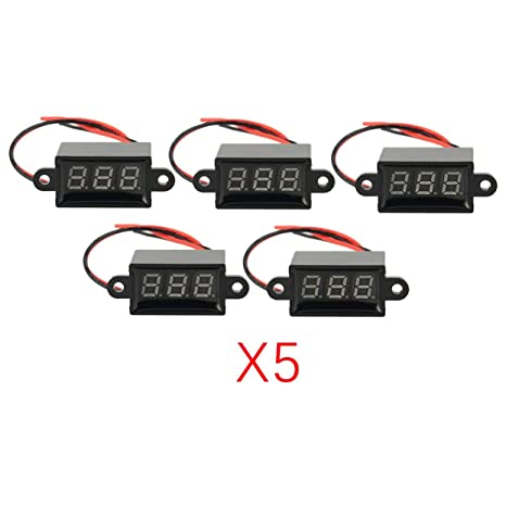 5 unidades de voltímetro digital LED de 3 V-30 V con 2 cables,