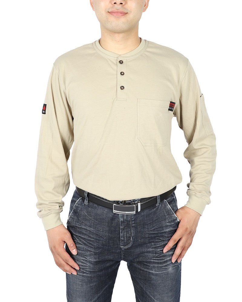 Cotton Flame Resistant Knit Safety Henley Work T-Shirt