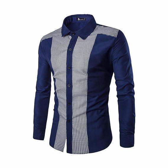 Yvelands Camisa de Costura Informal Formal para Hombre Camisas de Corte Slim Blusa de Moda de Manga Larga, Blusa Cómoda ¡Liquidación Económica!: