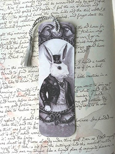 White Rabbit Bookmark Alice in Wonderland Bookmark Bunny Bookmark Fairy Tale Bookmark Fantasy Art Bookmark