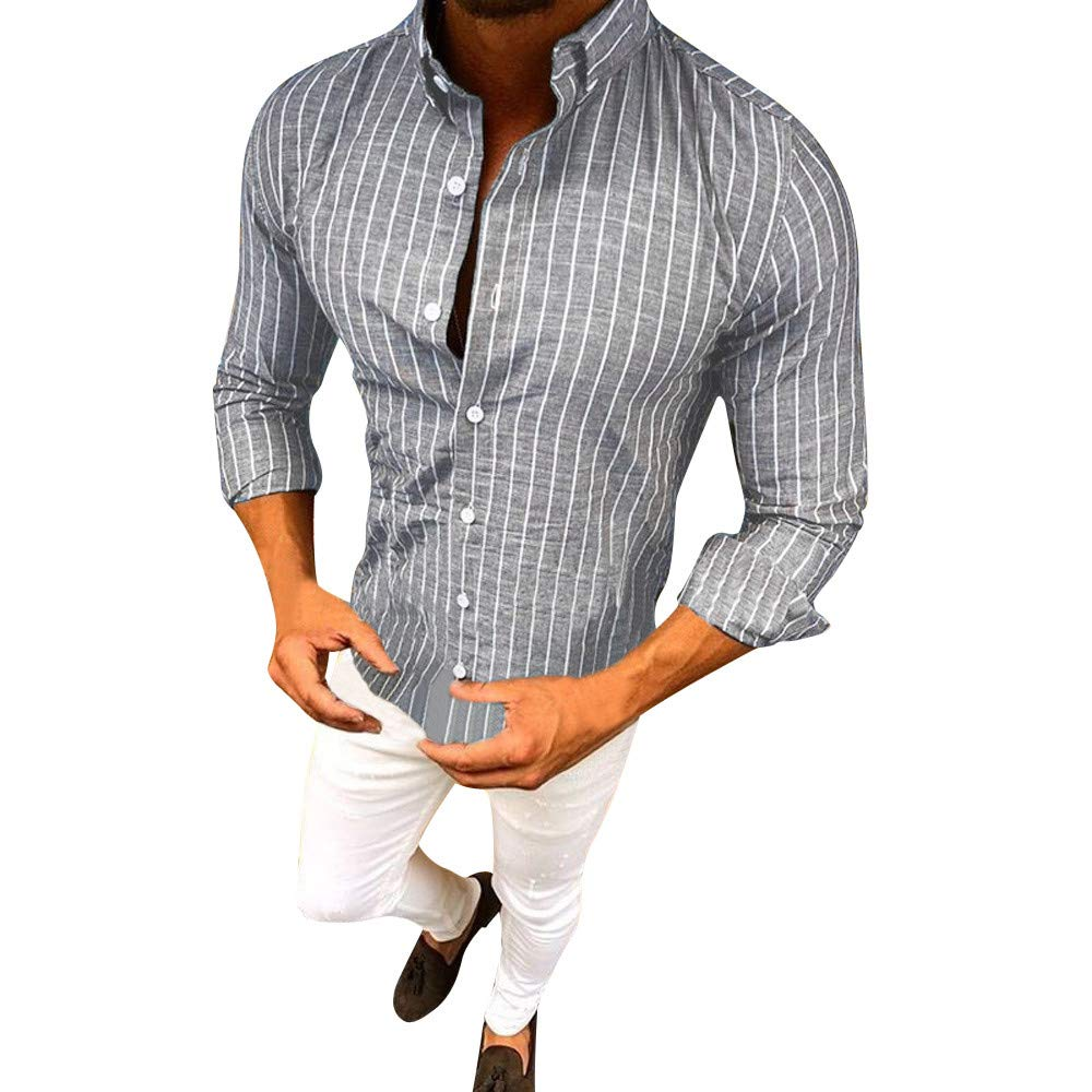 Gergeos Mens Striped Button Down Casual Long Sleeve Dress Shirts Tops Gergeos-134