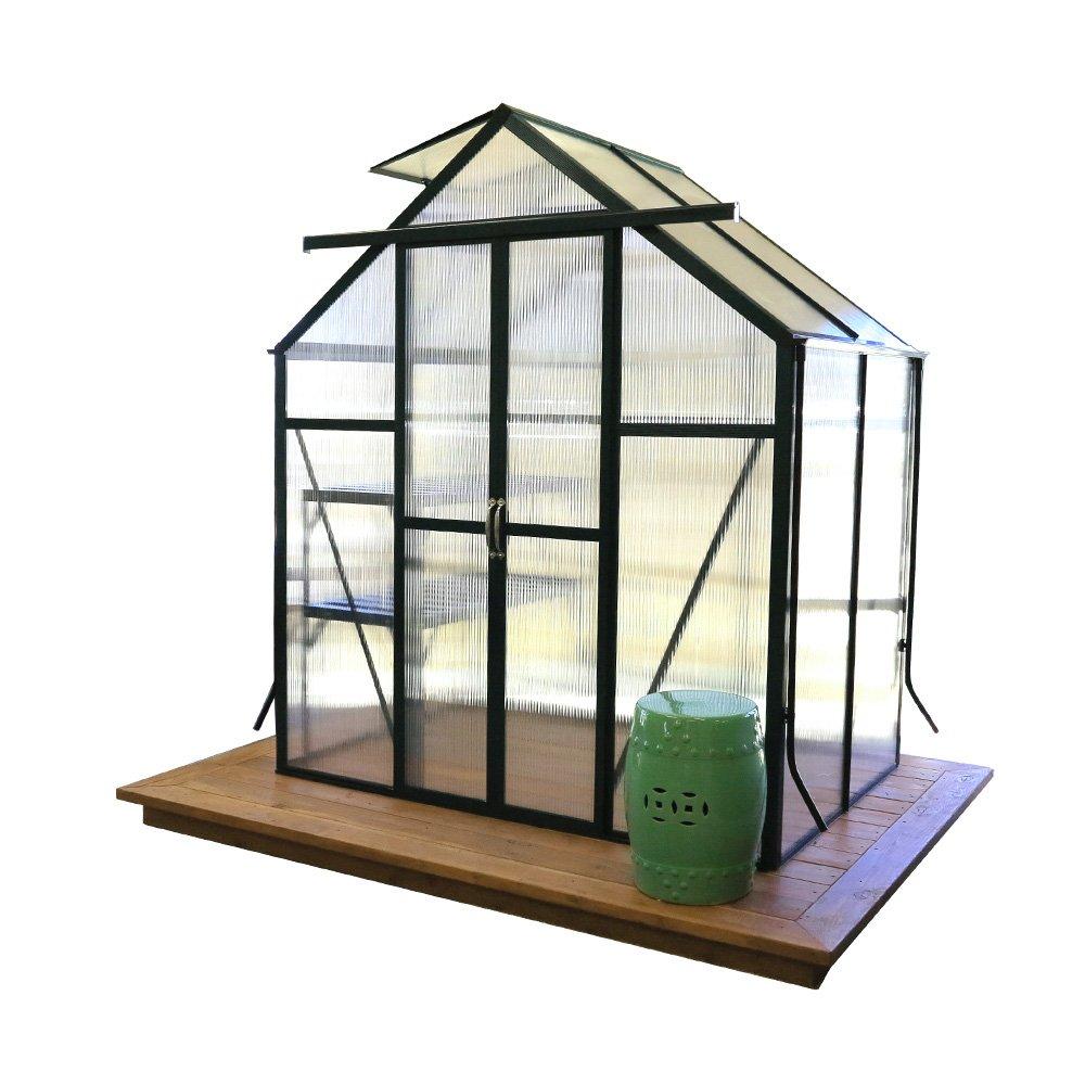 Grandio Element Walk-In Greenhouse Kit (6x4, Flat Mount, Wood Anchors)