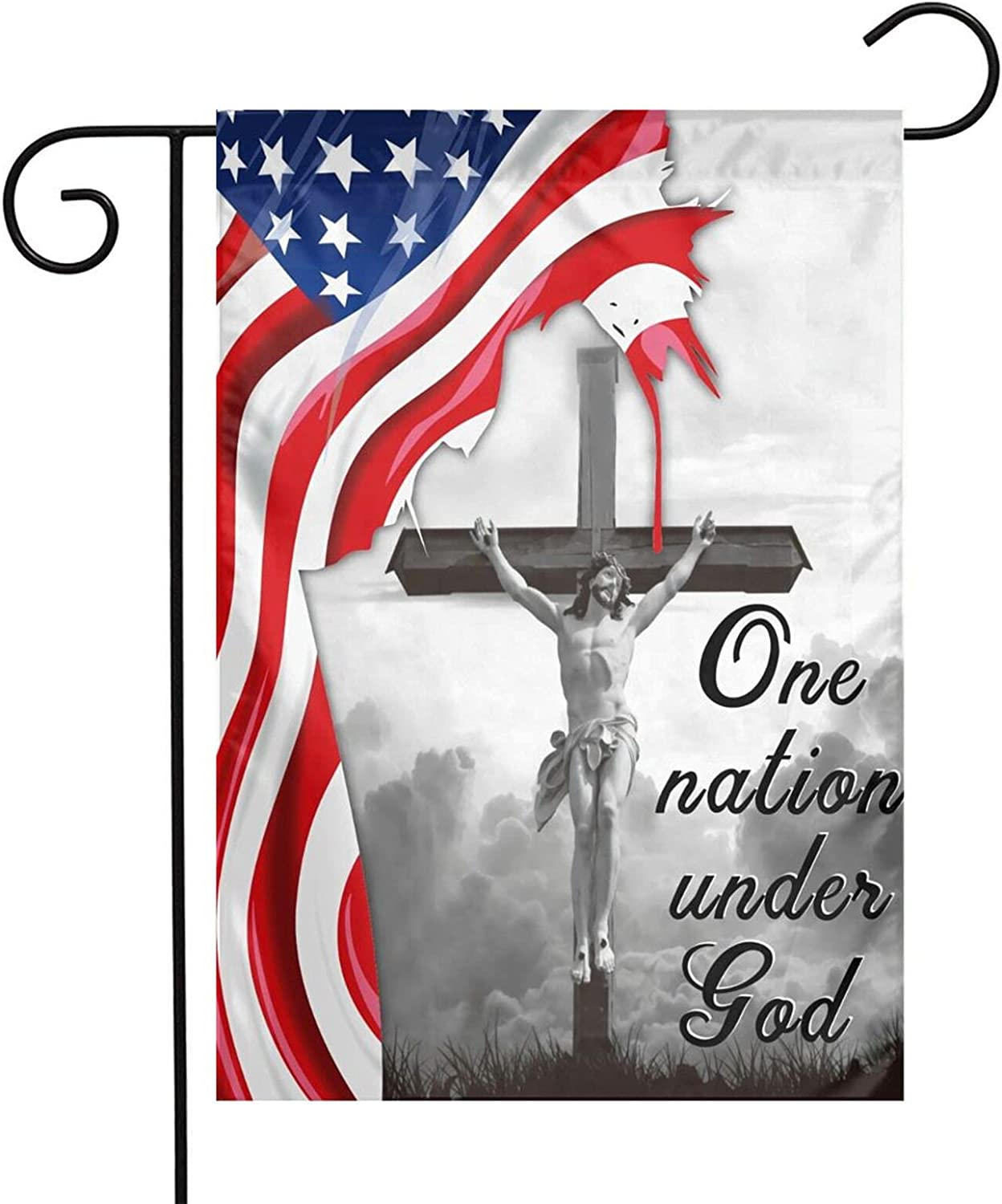TFDXIH One Nation Under God Jesus Christian Cross Flag 12 x18 Inch American Flags Yard Decor for Home Decorative Yard Deluxe Outdoor Banner