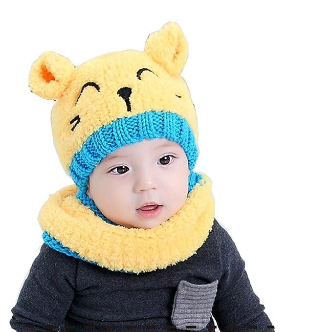 Tuopuda® Cappelli Neonato Inverno Earflap Infantile Invernale del Bambino  ha Lavorato a Maglia Il Cappello con la Sciarpa (Giallo Cappello e Sciarpa)   ... 182eb7791ff7