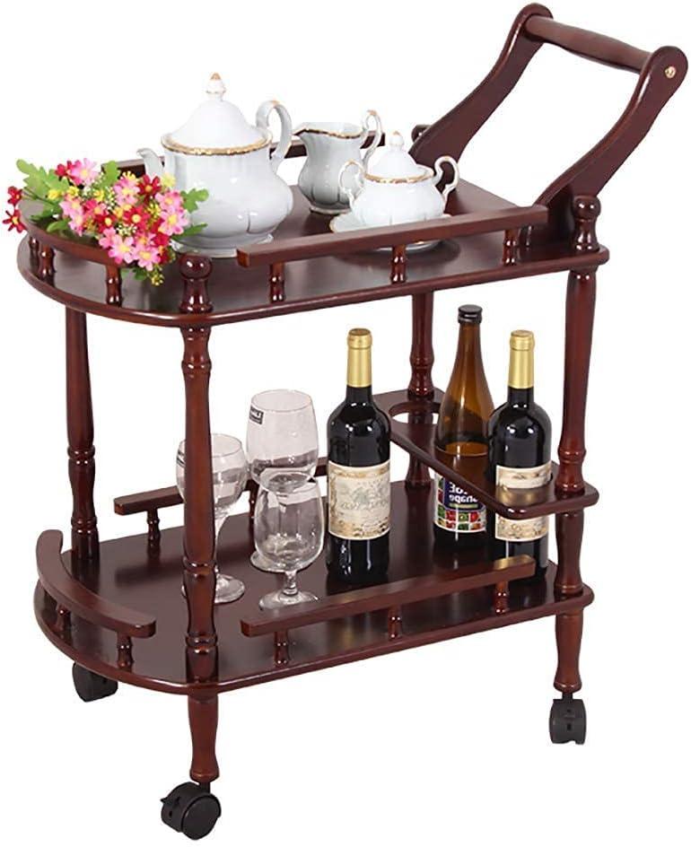 HTL Rack de Alenamiento Estante de Vino de Madera Iza de 2 Niveles con Ruedas Kicthen Bar Comedor Tetera de Vino Barra de Vino Carrito de Barra, Muebles Cocina Cuarto de Baño Trolley 2 Colores,Rojo