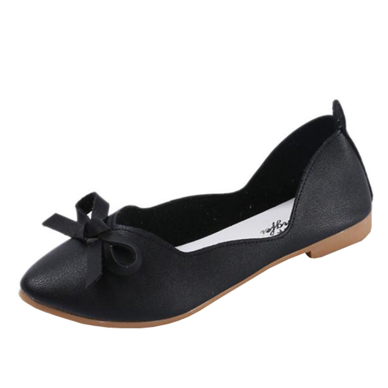 Mashiaoyi Womens Square-Toe Flat Slip-on Metal Ballet Flats