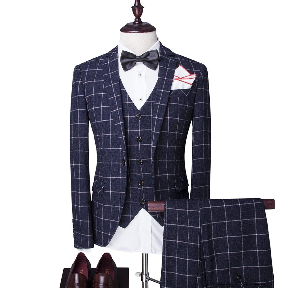 De hombre Vintage Tweed de 3 piezas Trajes Slim Fit Uno Botón Plaid ...