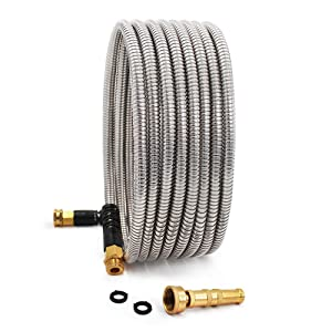 Cesun 25 Feet 304 Stainless Steel Metal Garden Hose with Solid Brass Nozzle, Lightweight Portable Durable Cool to The Touch, Flexible and No Kink, Tangle Puncture Resistant (25 Feet Upgraded)