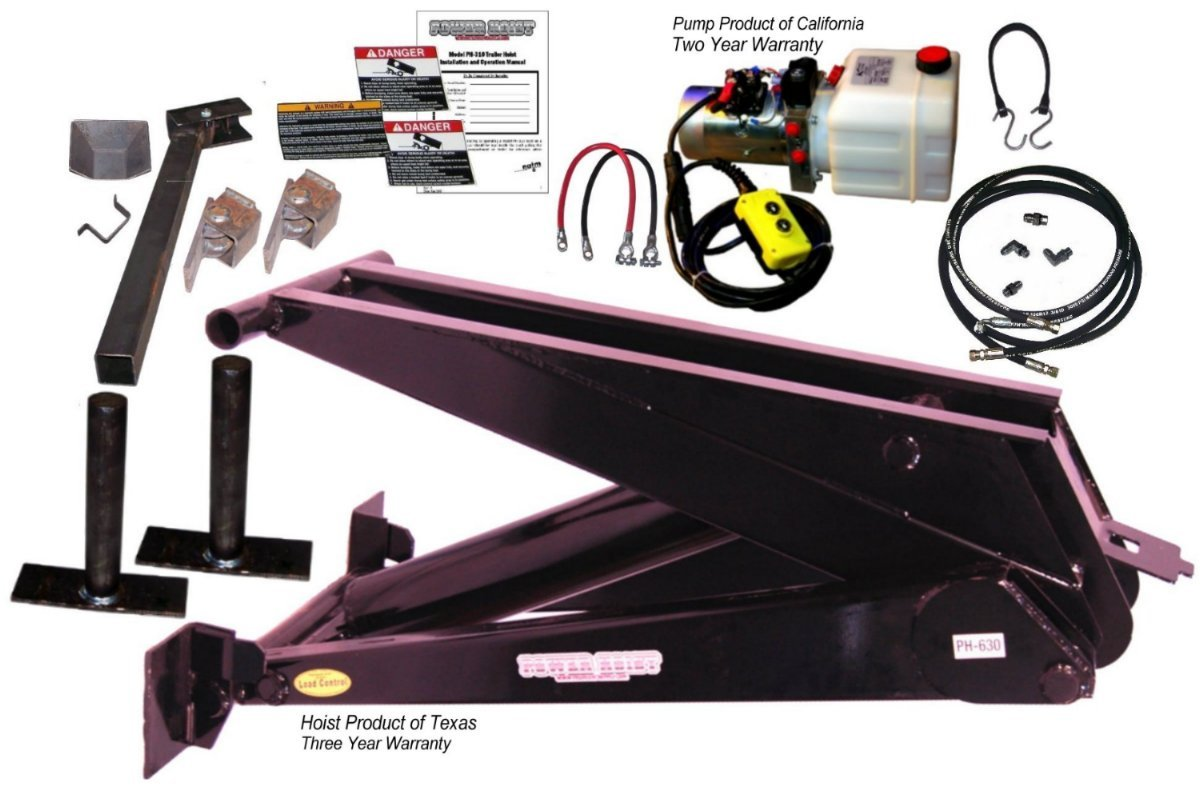 12 Ton (24,000 lb) Dump Trailer Hydraulic Scissor Hoist Kit – PH630 (18' to 24' Dump Body Trailers) by Premium Supply