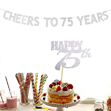Amazon Cheers To 75 Years Banner And Happy 75th Cake Topper