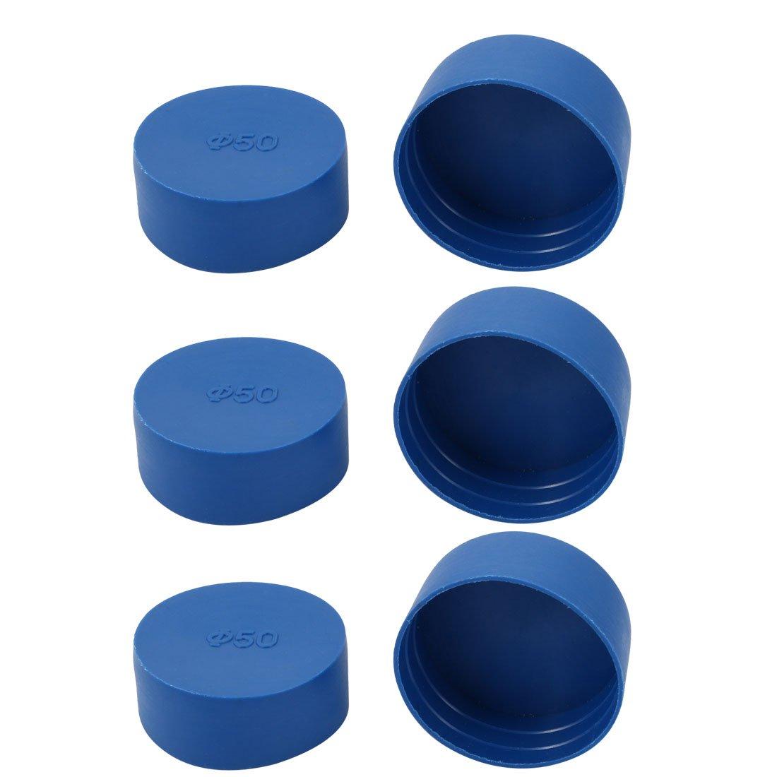 uxcell 6pcs 50mm Inner Dia PE Plastic End Cap Bolt Thread Protector Tube Cover Blue