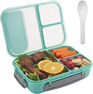 Freshmage Lunch Box Containers for Kids, Adult, Food Meal Prep Containers Leak-proof with 3 Compartments Dividers and Spoon -- Green