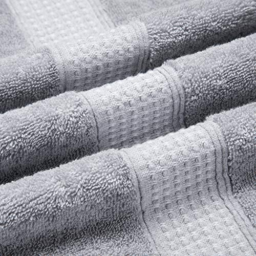 3H Cotton Luxury Bath Towels - Grey 27 x 54 Inch Plush Soft Spa Bath Towel Set, Hotel Large Bathroom Bath Sheets