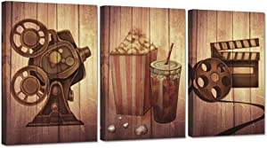 ZingArts Vintage Filmmaking Concept Scene Wall Art 3 Pieces Movie Projector Film Reels Popcorn Picture Print on Canvas Stretched and Framed For Movie Room Home Bedroom Decoration Ready to Hang