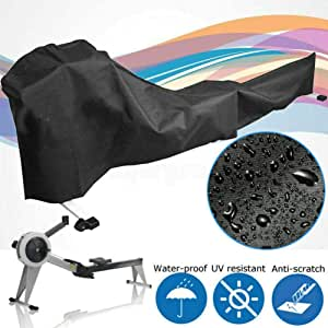 Gorge-buy Black Rowing Machine Protective Cover,112x20x39 Fitness Equipment Covers,Outdoor Waterproof Rowing Machine Cover,UV Protection Polyester Dust Cover