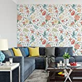 DeStudio 'Birds And Flowers In Pastel Colors' Peel and Stick Wallpaper (Self Adhesive), 01 Roll / 26.7 Sqft (41 cm X 610 cm)-14088