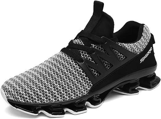Hombres Zapatos Confort PU Verano Zapatos atléticos de los Zapatos Corrientes/Zapatos para Caminar Bloque de Color Negro/Negro/Rojo/Gris,Gris,41: Amazon.es: Jardín
