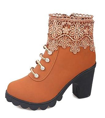 Minetom Elegante Mujer Invierno Otoño Calentar Botines Tacón Alto Boots Cortas Zapatos De Cordones Casual Moda Martin Botas Shoes: Amazon.es: Ropa y ...
