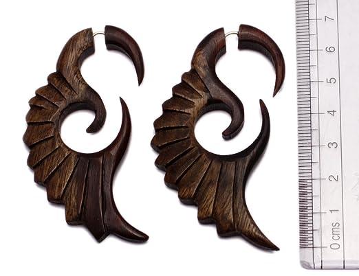 Wholesale Lot of 5 / A Pair of Wood Ebony Dangler Spiral Design Girls Faux plugs Wooden Earrings h1e0OE