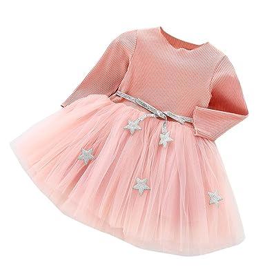 Elyseesen Ensemble Chic Bambin Enfants Bébé Filles Manches Longues Star Robes Princesse Partie