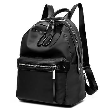 Flada chica de cuero PU mochilas para adolescentes niñas Escuela bolsas Moda casual mochila negro: Amazon.es: Equipaje