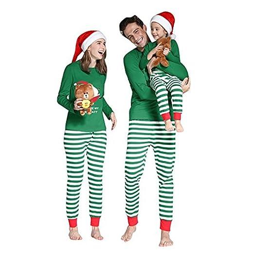 mikrdoo family matching christmas pajamas sleepwear cotton santa green striped pajamas pants set kid