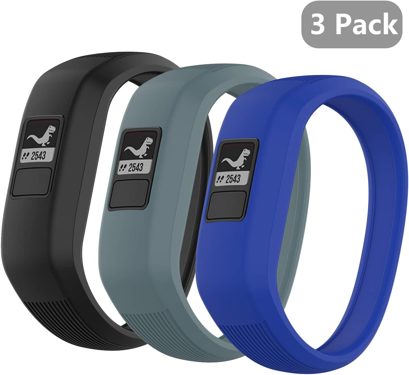 (3 Pack) Seltureone Band Compatible for Garmin Vivofit jr,jr 2,3 Bands, All-in-one Silicon Stretchy Replacement Wristbands for Kids Boys Girls (No Tracker)- Black,Cyan,Blue (Small) 611u7qKR2QL