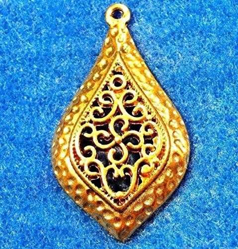 50Pcs. Wholesale Tibetan Antique Gold Teardrop Earring Drops Charm Pendant Q1129 Crafting Key Chain Bracelet Necklace Jewelry Accessories Pendants