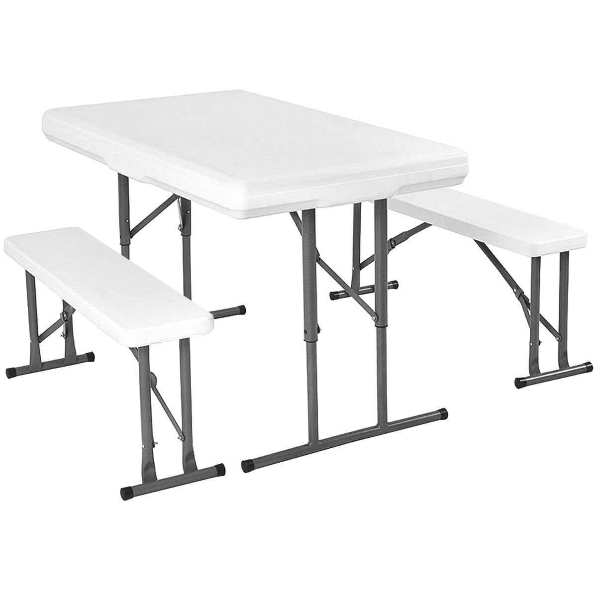 Giantex Table and Benches Set Chair Seat Folding Picnic Patio Garden Outdoor Furniture OP3091