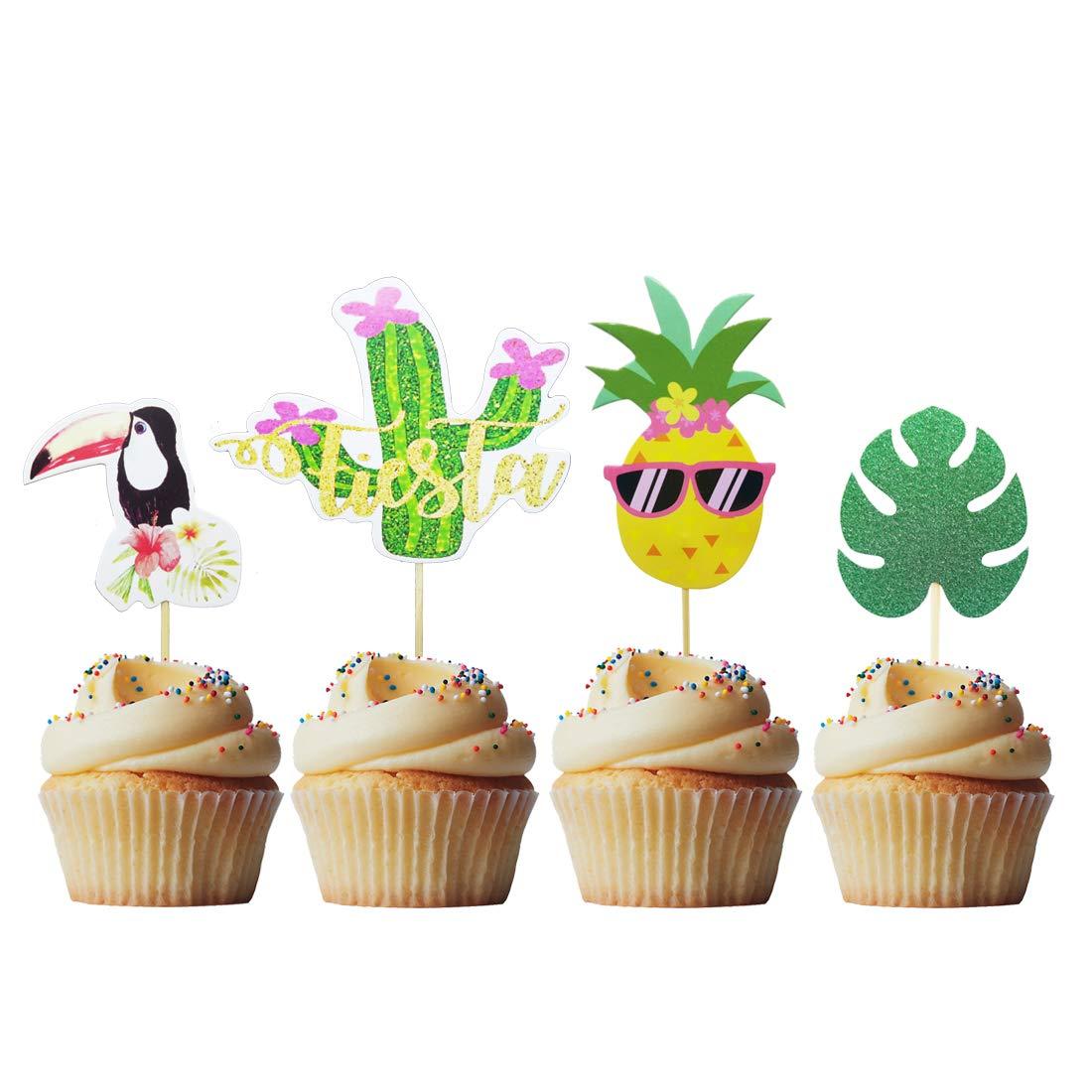 20pcs Glitter Paper Happy Birthday Party Cake Topper Muffin Fruit Cupcake Picks