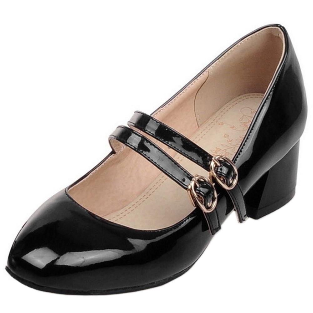 RAZAMAZA Damen Classic Double Buckle Chunky Heel Mary Jane Pumps Schuhe Black