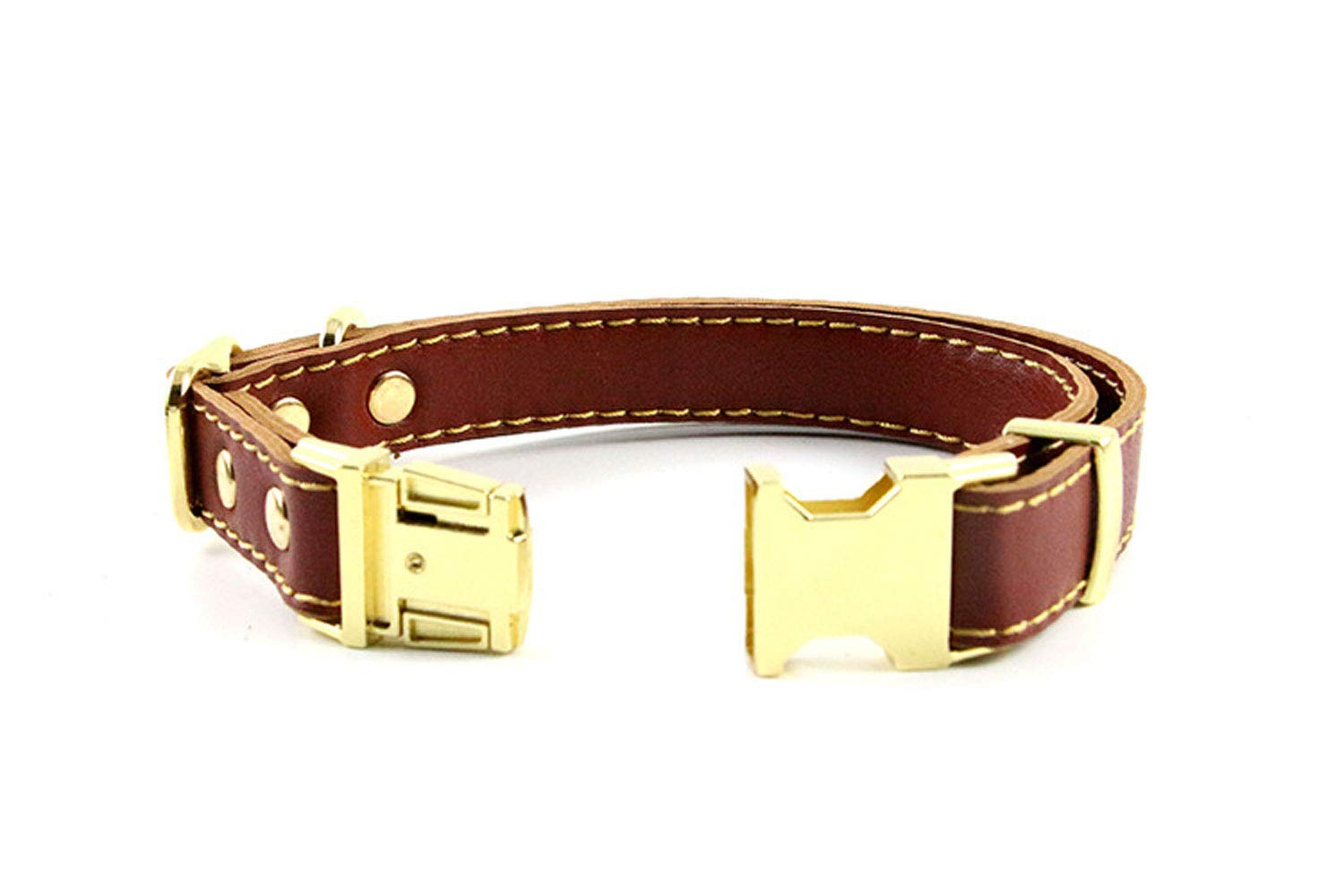 Brown S Brown S Soft Leather Dog Collar Adjustable Adjustable for Medium and Large Dog Pet Supplies,Brown,S