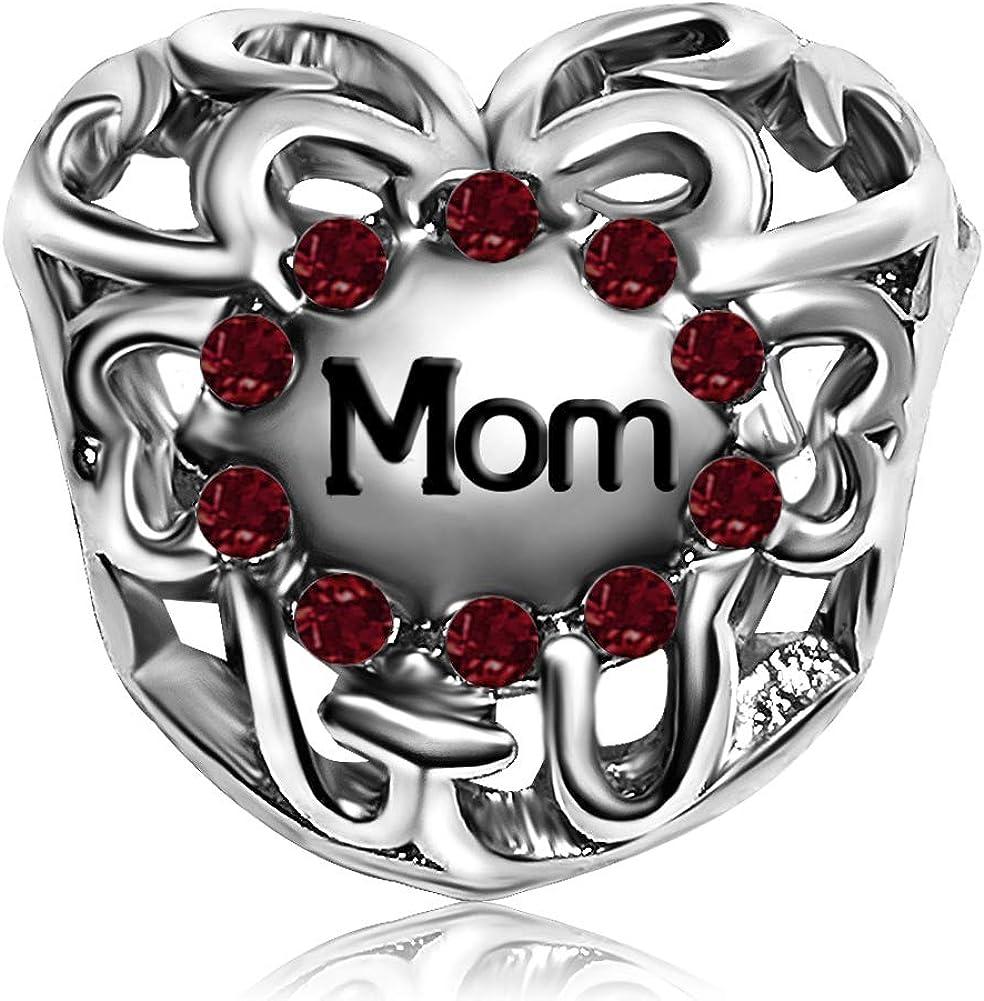 JMQJewelry Mother Mom Heart Love Birthday Birthstone Charms For Bracelets Women Girl Jewelry
