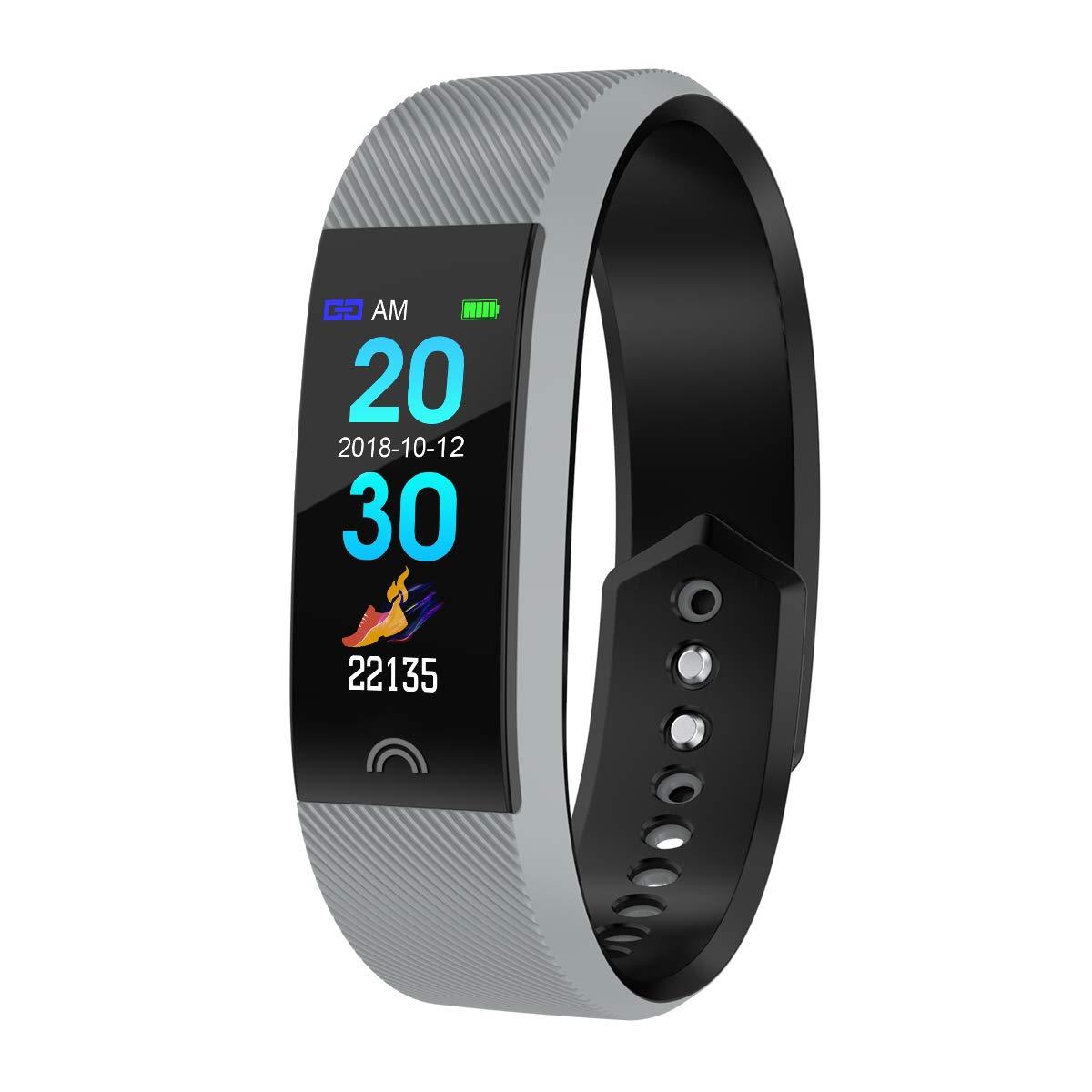 JIANGJIE Inseguitori di Fitness, frequenza cardiaca, Pressione sanguigna, Monitor per Il monitoraggio dell'ossigeno nel Sangue Tracker Fitness Bluetooth con IP68 Impermeabile, Monitor del Sonno,B