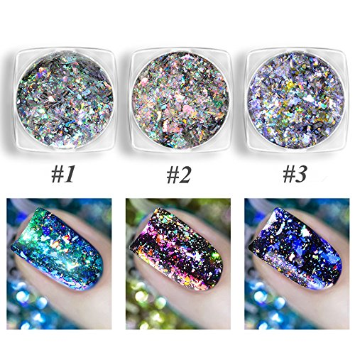 CHARMING MAY 3 Boxes Chameleon Holographic Flakes Paillette Laser Nail Glitter Sequins Mirror Powder (Nail Glitter Holographic)