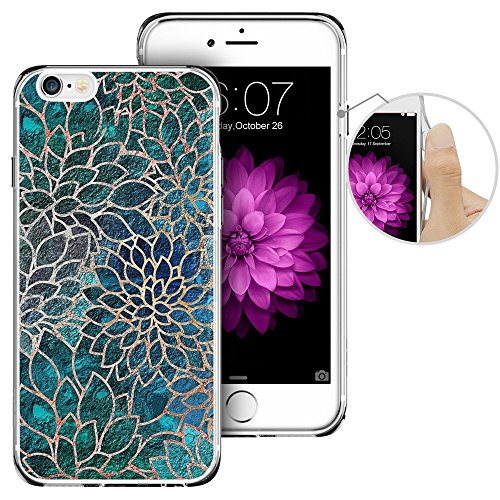 iPhone 6 Case,iPhone 6s Case, LAACO Beautiful Clear TPU Case Rubber Silicone Skin Cover for iPhone 6/6S - Blue-green gem floral design