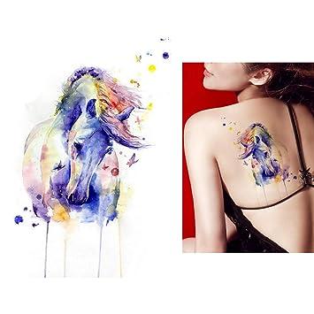 5ac9857cd17df Amazon.com : 1 Sheet Beauty Decal Waterproof Tattoo Sticker Cute Colored  Horse Animal Pattern Women Girl Body Art Temporary Tattoo Removable KM083 :  Beauty