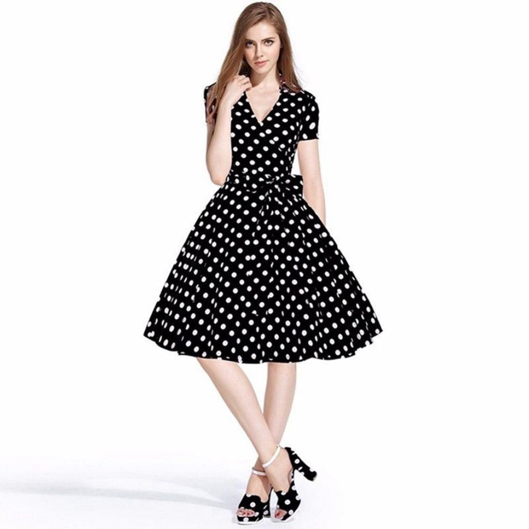 Amazon.com  GoodLock Women Girls Fashion Dress Lady Female Vintage 50S 60S  Swing Pinup Retro Casual Housewife Party Ball Dress  Sports   Outdoors db3f6c7c8f41