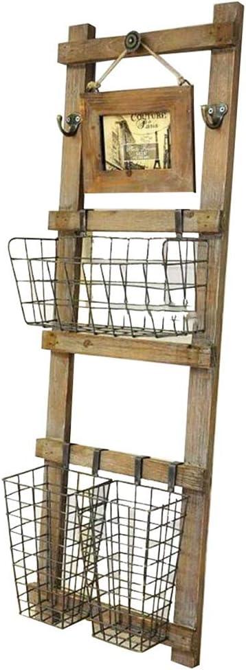 HANSHAN ソリッドウッドストレージは11×35インチラック錬鉄グリッド本棚は、新聞はフラワースタンドラック
