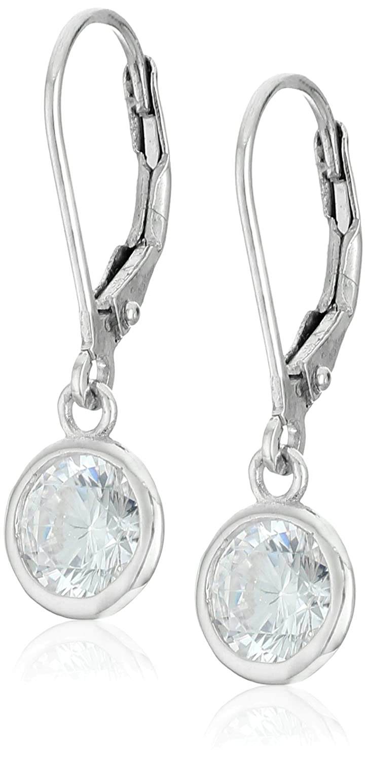925 Sterling Silver 6mm Bezel AAA Cubic Zirconia Leverback Drop Earrings (1.68 cttw) Amazon Collection E3269CZA