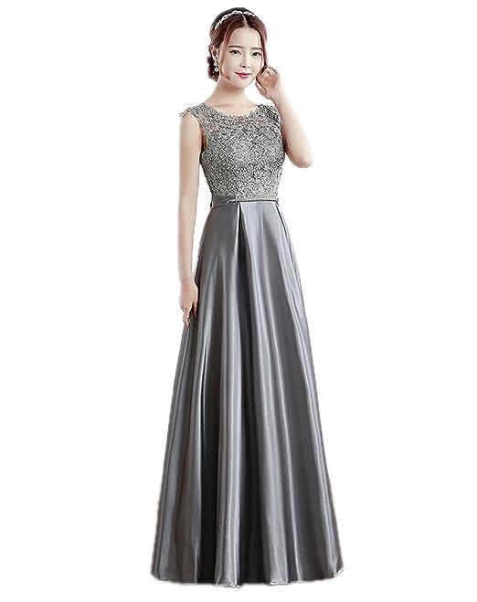 size 40 10c35 184ee KOOLEE elegante o collo grigio pizzo floreale raso lungo ...